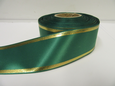 Dark Emerald Green  with Metallic Gold Tramlines Satin Ribbon  2 or 20 metres 25mm 38mm Roll (1)